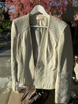 Sass & Bide Ivory Leather Jacket Size 10