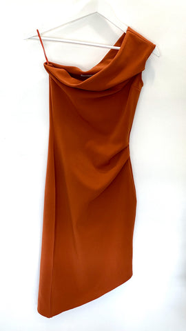 Bec and Bridge rust one shoulder dress