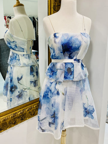 Aje blue and white floral shoestring top