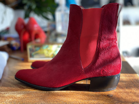 Charles Jourdan red boots