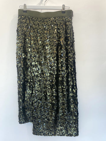 Sass and Bide olive green sequin skirt