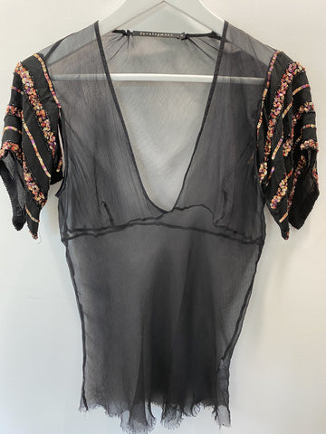 Development black sheer top with sequin sleeves