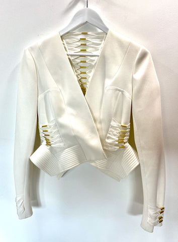 Sass and Bide white cropped jacket with gold detail