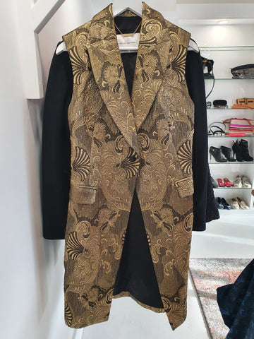 Camilla and Marc silk Brocade long vest coat
