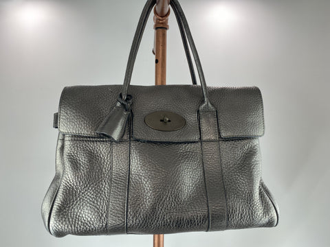 Mulberry dark silver Bayswater leather tote