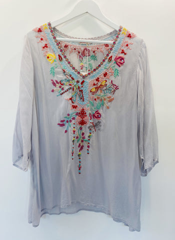 Johnny Was grey embroidered tunic top