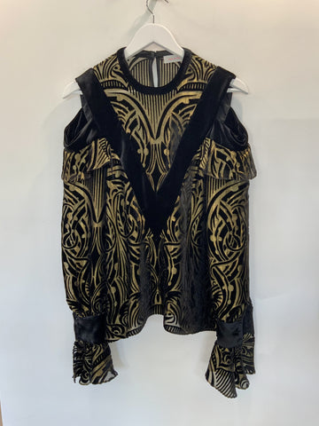 Sass and Bides Black and Gold Cold Shoulder Blouse