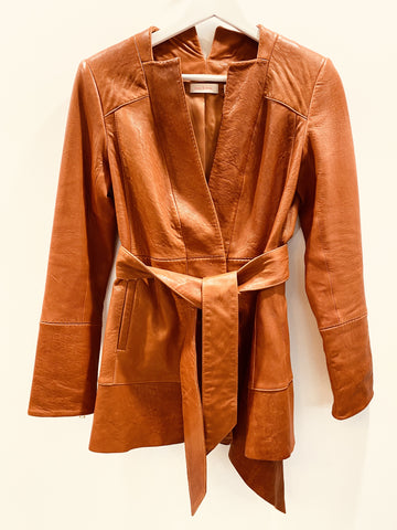 Sass and bide clay brown leather jacket with tie