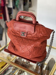 Chanel boy travel tote dark red