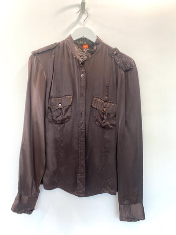 Hugo Boss Brown Satin Button Up Shirt