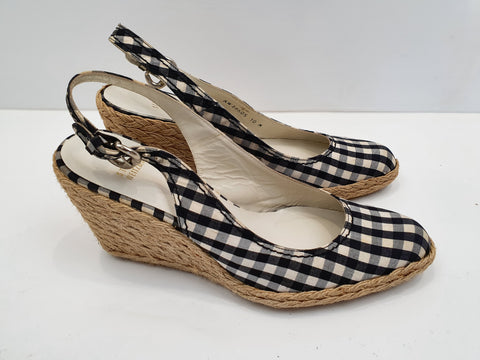 Stuart Weitzman checked wedges