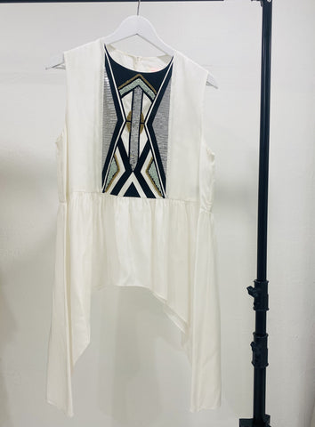 Sass & Bide White Top with Sequin Front