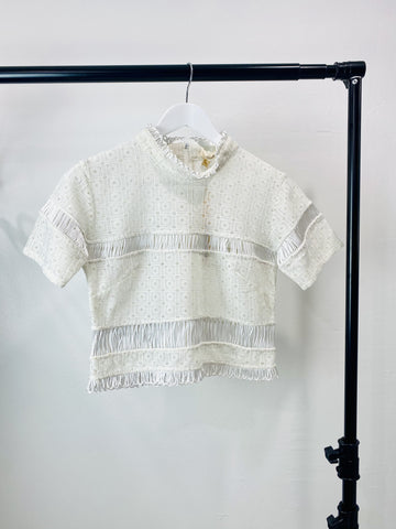 Shakuhachi white lace crop top