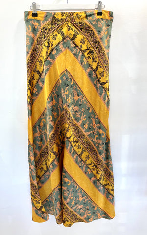 Free People yellow silky long skirt