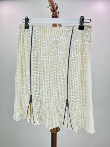 Rachel Gilbert cream sequin and zipper skirt