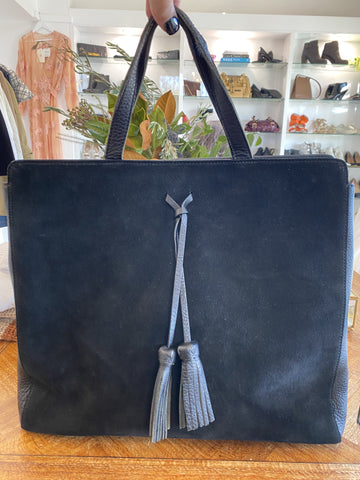 Arlington Milne leather and suede tote