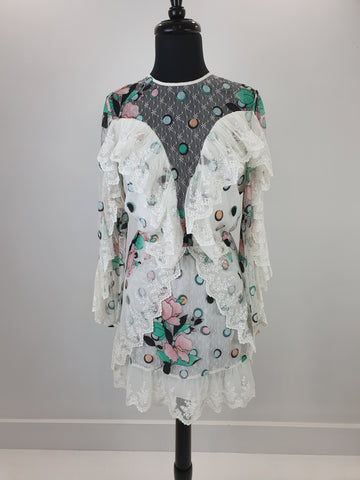 Alice McCall white pink and mint lace dress