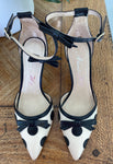 Alannah Hill b/w spot heels with bow strap