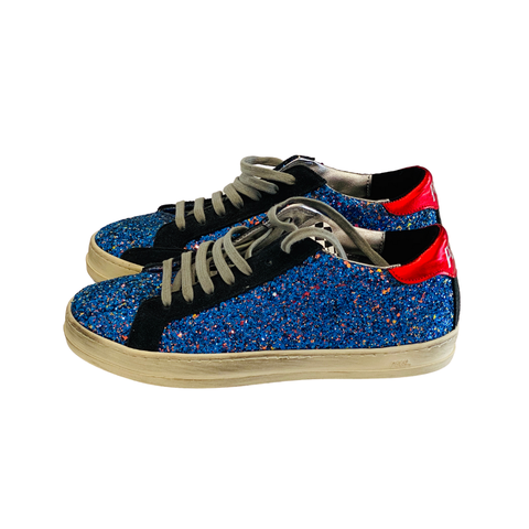 P448 Distressed Blue, black and red glitter sneakers