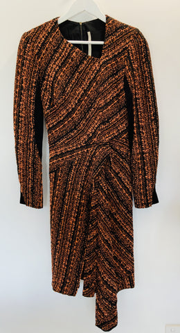 Willow orange and black boucle dress