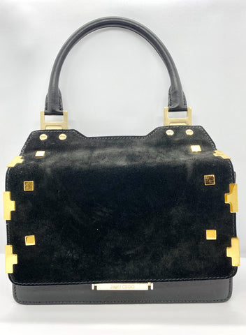 Jimmy Choo black suede and gold handbag