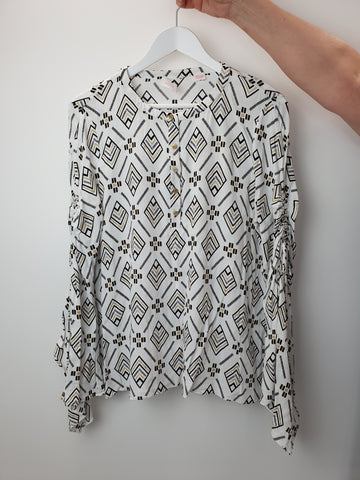 Sass and Bide white black and gold blouse