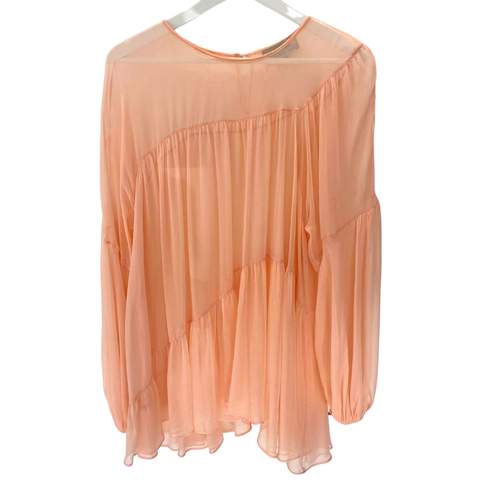 Lee Mathews asymmetrical sheer pink blouse