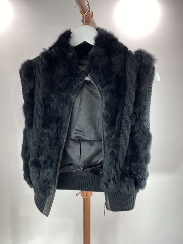 Hussy knit and fur vest