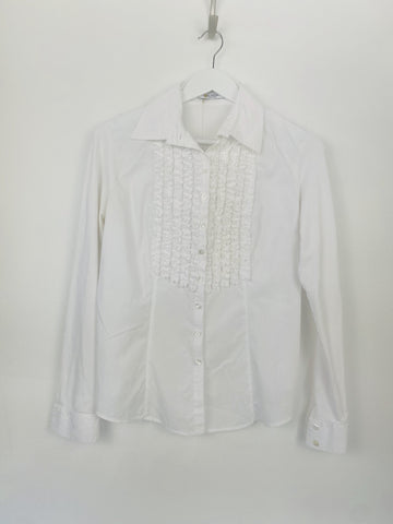 Anne Fontaine white ruffled blouse