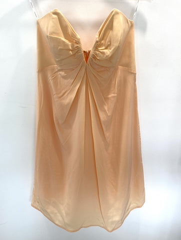 Zimmermann strapless apricot silk dress