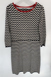 Max Mara Weekend black and white knit dress with red collar