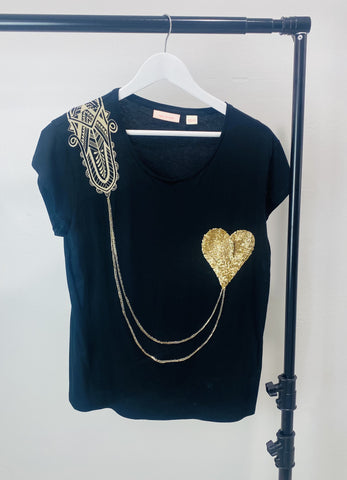 Sass and Bide Heart Sequin Top