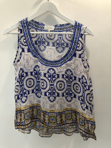 Camilla Singlet Top Blue and White