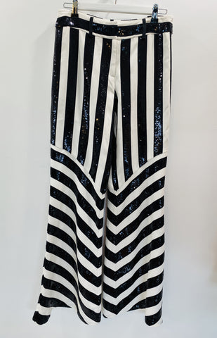 Sass and Bide black and white striped sequin pants
