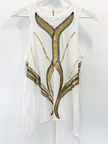 Sass and Bide singlet top with gold sequins