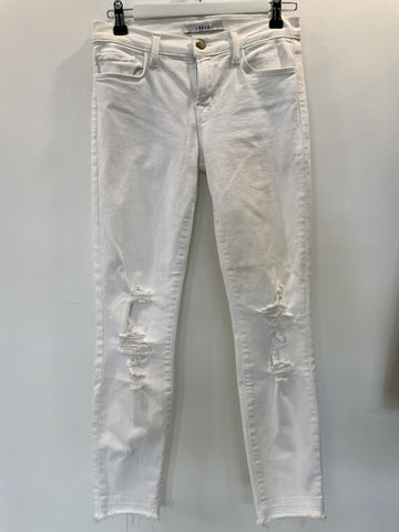 JBrand White Jeans with Shredded Knee Detail