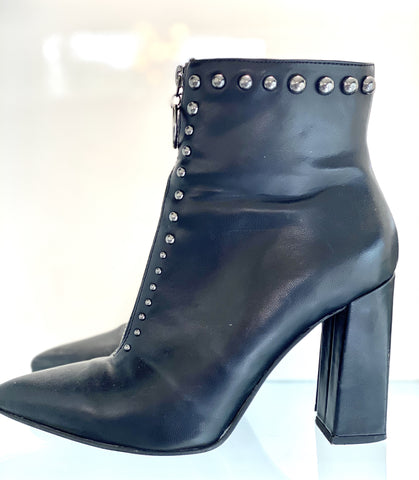 Migato black leather studded zip boots with heel