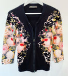 Marccain Floral Knit Zip Cardigan