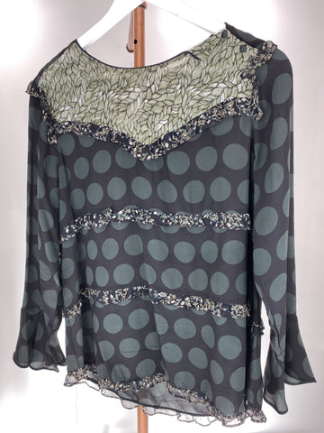 M.A Dainty green and Black frilled blouse