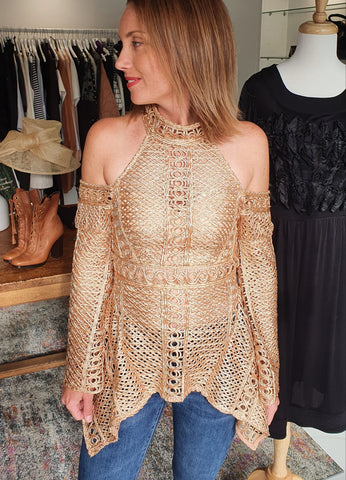 Thurley Lace Satin Gold Top