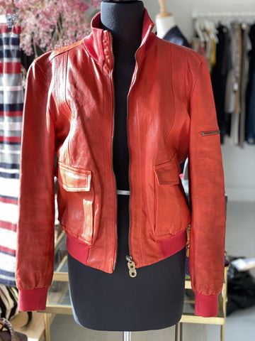 Bally red leather jacket