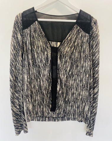 Willow black and white silk blouse