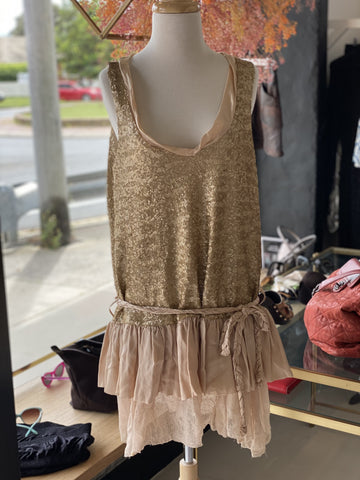 Lisa Brown gold sequin hipster dress