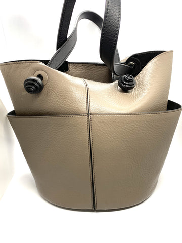 Tod's taupe and black bucket handbag