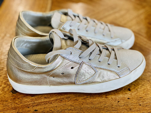 Philippe Model silver and gold sneakers