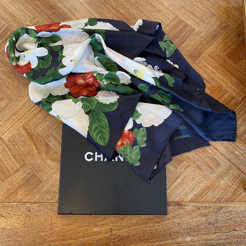 Chanel black floral silk scarf