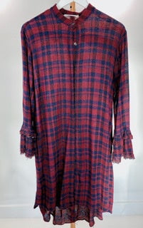 Morrison red/navy raw edge check dress