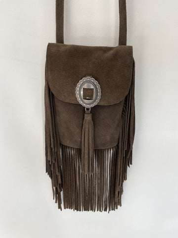 Hunky Dory suede fringe cross body bag