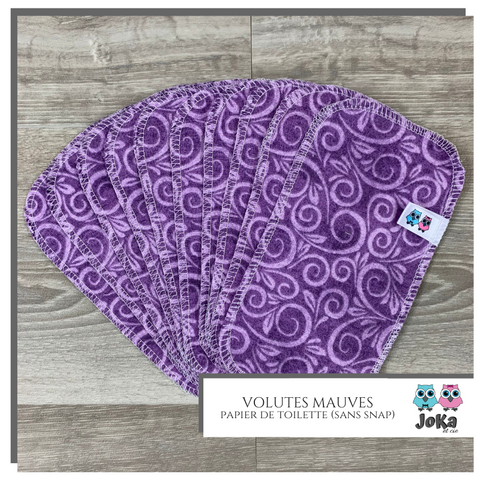 Washable toilet paper Volutes mauves
