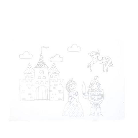 Washable Silicone Coloring Placemats Princesse et chevalier